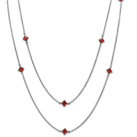 Princess-Cut Birthstone Station Necklace in Silvertone Color Fun