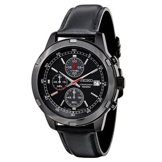 Seiko Men's SKS439 Black Leather Strap Chronograph Sport Watch