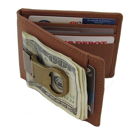 Continental Leather Bottle Opener Money Clip Front Pocket Wallet