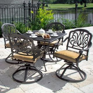 Lakeview Outdoor Designs Rosedown 4-Person Cast Aluminum Patio Dining Set With Cast Aluminum Table