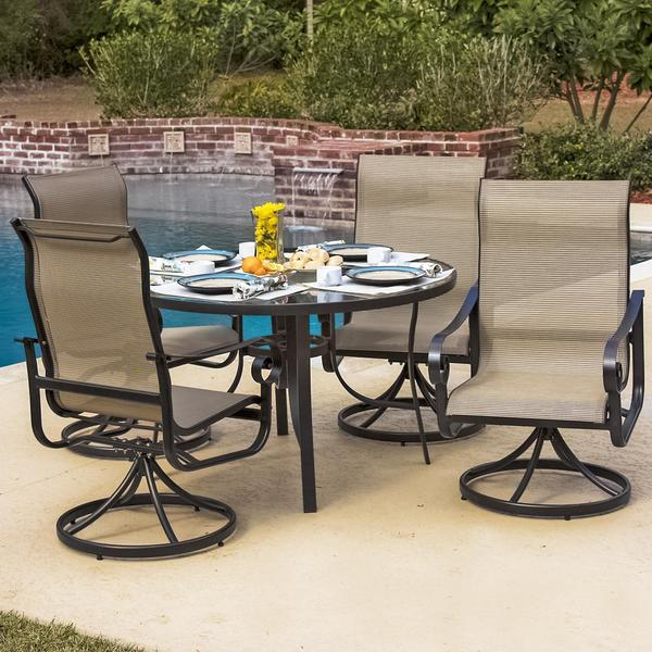 La Salle 4-Person Sling Patio Dining Set With Glass Top