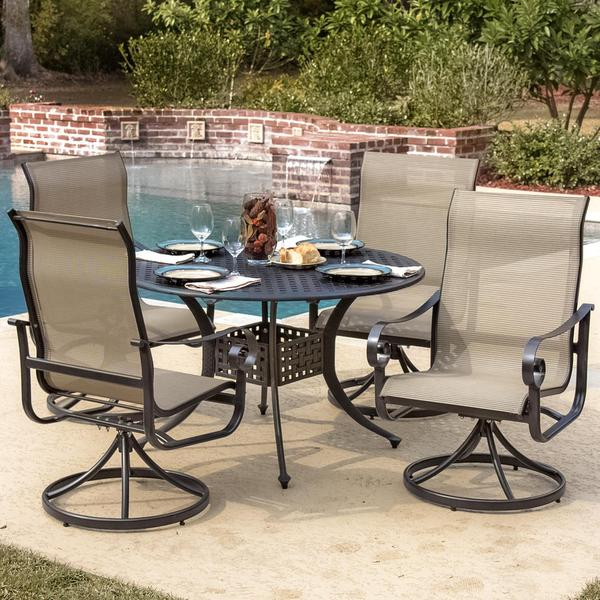 la salle 4 person sling patio dining set with cast aluminum table
