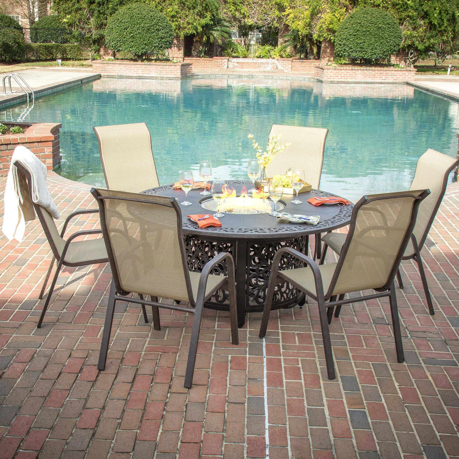 Lakeview Outdoor Designs Madison Bay 6 Person Sling Patio Dining Set With Fire Pit Table
