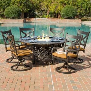Lakeview Outdoor Designs Avondale 6-Person Cast Aluminum Patio Dining Set With Fire Pit Table