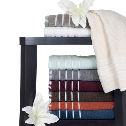 Windsor Home Black Cotton Rice Weave 6-piece Towels