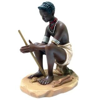 "Mursi Making Fire Figurine - 4.5""h x 3.5""w x 3""l"
