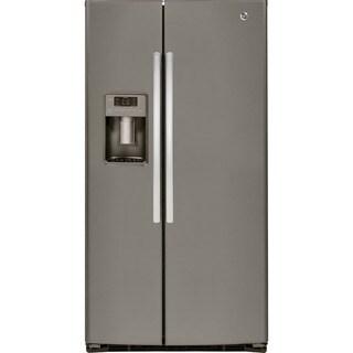 GE Energy Star 25.4 Cubic Feet Side-by-side Slate Refrigerator