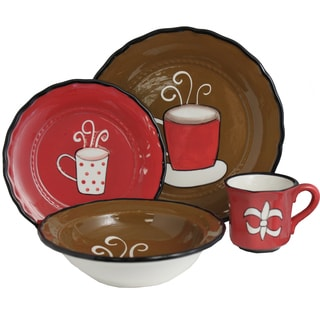 Cafe Collection Hand-painted 16-Piece Dinner Set - Serving for 4