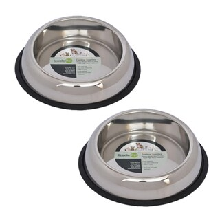 Iconic Pet 2-piece Heavy Weight Non-skid Easy Feed High Back Pet Bowl