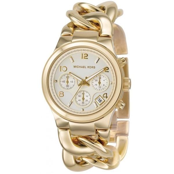 Michael Kors Women X27 S Chronograph Runway Twist Gold Stainless Steel Bracelet Watch