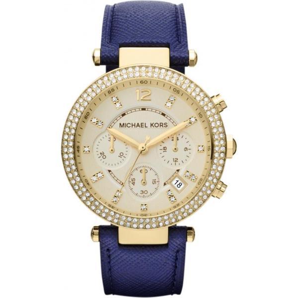 Michael Kors MK2280 Women's Chronograph Parker Navy Leather Strap Watch