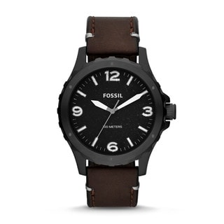 Fossil Men's JR1450 Nate Three-Hand Brown Leather Watch