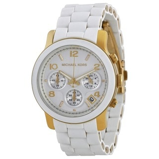 Michael Kors MK5145 Women's Chronograph Runway White Polyurethane Gold-Tone Bracelet Watch