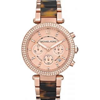 Michael Kors MK5538 Women's Chronograph Parker Tortoise Rose Gold-Tone Bracelet Watch