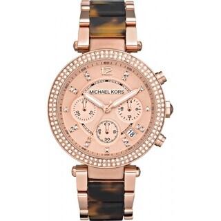 Michael Kors Women's Chronograph Parker Tortoise Rose Gold-Tone Bracelet Watch