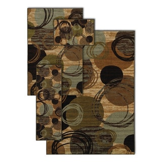 Comtempo Circle Flourish Brown 4-piece Rug Set