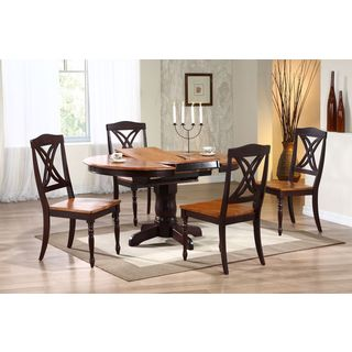 5-piece Whiskey Mocha 42 x 42 x 60-inch Round Butterfly-back Dining Set