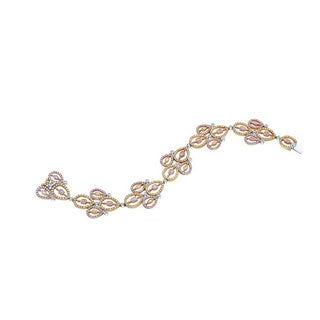 Estie G 18k Tri-color Gold 6 1/4ct TDW Multi-colored Diamond Link Bracelet