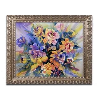Rita Auerbach 'Peonie Burst' Antiqued Gold Wood Framed Canvas Art