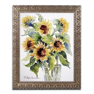 Rita Auerbach 'Sunflowers' Antiqued Gold Wood Framed Canvas Art