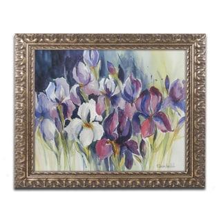 Rita Auerbach 'White Iris' Antiqued Gold Wood Framed Canvas Art