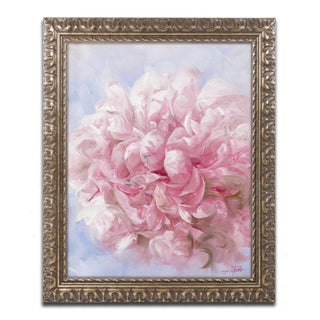 Li Bo 'Pink Peonie I' Antiqued Gold Wood Framed Canvas Art