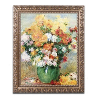 Pierre Renoir 'Bouquet of Chrysanthemums' Antiqued Gold Wood Framed Canvas Art