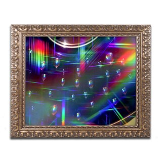 Beata Czyzowska Young 'Rainbow Logistics I' Antiqued Gold Wood Framed Canvas Art