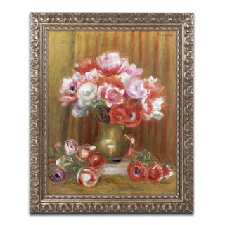 Pierre Renoir 'Anemones 1909' Antiqued Gold Wood Framed Canvas Art