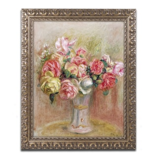 Pierre Renoir 'Roses in a Sevres Vase' Antiqued Gold Wood Framed Canvas Art