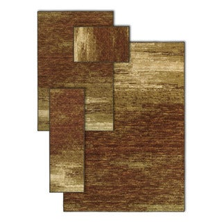 Ombre Shades Brown 4-piece Rug Set