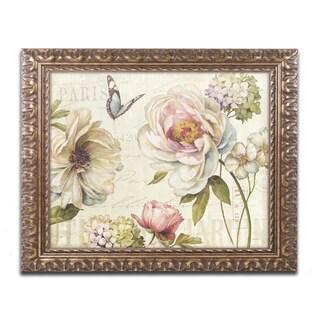 Lisa Audit 'Marche de Fleurs IV' Antiqued Gold Wood Framed Canvas Art