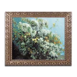 Gustave Courbet 'Flowering Branches and Flowers' Antiqued Gold Wood Framed Canvas Art