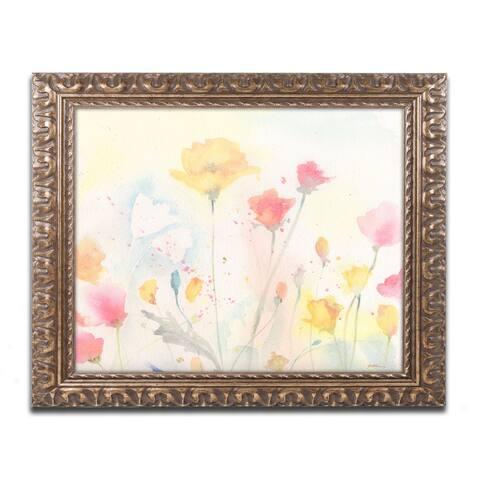 Sheila Golden 'Poppy Festival' Antiqued Gold Wood Framed Canvas Art