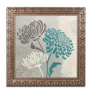 Wellington Studio 'Chrysanthemums II' Antiqued Gold Wood Framed Canvas Art