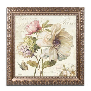 Lisa Audit 'Marche de Fleurs II' Antiqued Gold Wood Framed Canvas Art