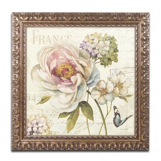 Lisa Audit 'Marche de Fleurs III' Antiqued Gold Wood Framed Canvas Art