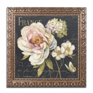 Lisa Audit 'Marche de Fleurs on Black' Antiqued Gold Wood Framed Canvas Art