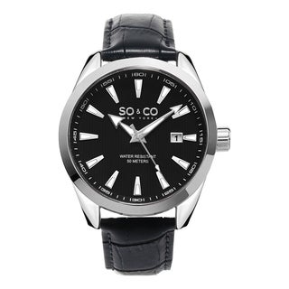 SO&CO New York Men's Madison Quartz Black Dial Leather Strap Watch