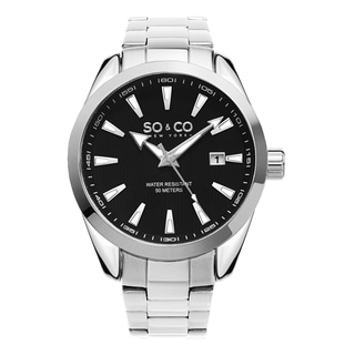 SO&CO New York Men's Madison Quartz Black Dial Stainless Steel Bracelet Watch