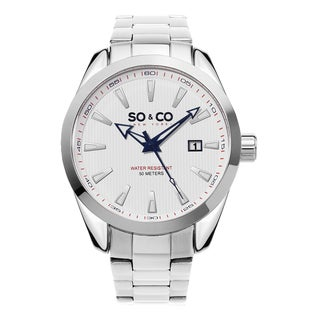 SO&CO New York Men's Madison Quartz White Dial Stainless Steel Bracelet Watch