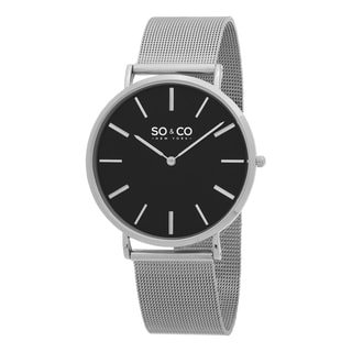 SO&CO New York Men's Madison Quartz Black Dial Stainless Steel Mesh Bracelet Watch