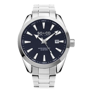 SO&CO New York Men's Madison Quartz Blue Dial Stainless Steel Bracelet Watch