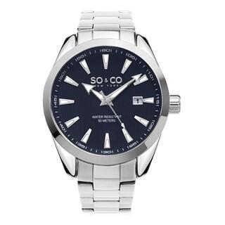 SO&CO New York Men's Madison Quartz Blue Dial Stainless Steel Bracelet Watch