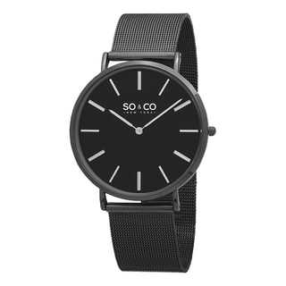 SO&CO New York Men's Madison Quartz Stainless Steel Black Mesh Bracelet Watch