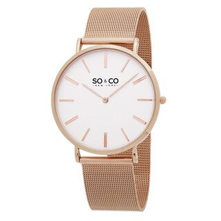 SO&CO New York Men's Madison Quartz Stainless Steel Rose Mesh Bracelet Watch