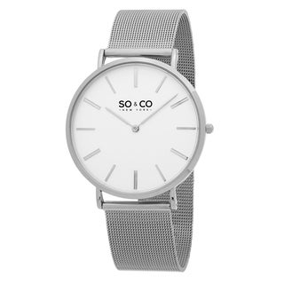 SO&CO New York Men's Madison Quartz White Dial Stainless Steel Mesh Bracelet Watch
