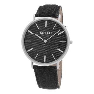 SO&CO New York Men's SoHo Quartz Silvertone Bezel Leather Strap Watch - Black