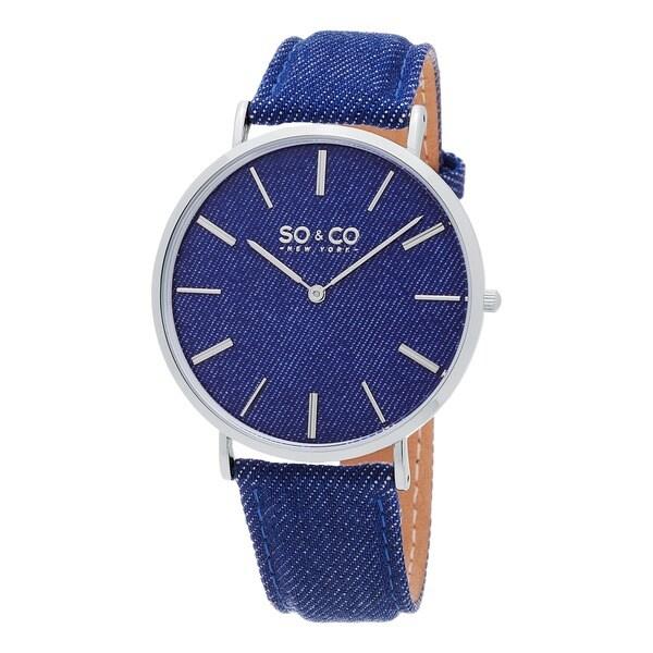 SO&CO New York Men's SoHo Quartz Black Bezel Canvas Covered Leather Strap Watch