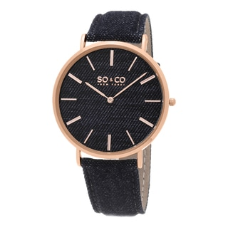 SO&CO New York Men's SoHo Quartz Rose Bezel Denim Covered Leather Strap Watch